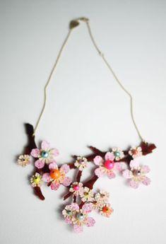 Eden & Eden Blossom Branch Necklace - Neon Pink