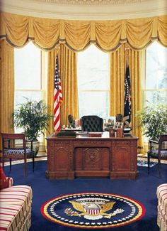 Each President can refresh and redecorate the Oval Office when he comes into office, but the basic character of the room remains the same. It is a room filled with enormous dignity and grace, and has an overwhelming feeling of the powerful men who once guided this Country through our historical past. Never forget, The White House belongs to the people of the United States!