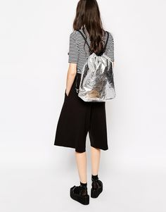 Image 3 of Monki Sally Cracked Silver Drawstring Backpack