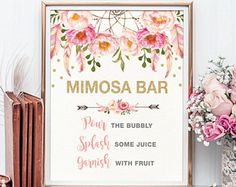 Pink and Gold MIMOSA BAR Printable Sign. Floral Bridal Shower Sign. Dreamcatcher Rustic Flower Bridal Shower Decoration. Shower Decor FLO12A