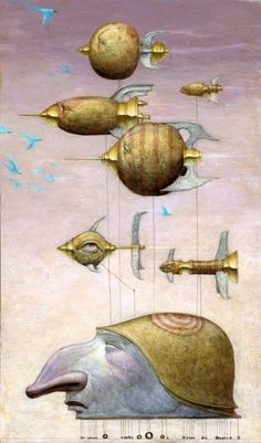 Bill Carman gives us a masterful example of steampunk surrealism in this illustration  - click through to mayhemandmuse.com to see more paintings and illustrations by Bill Carman