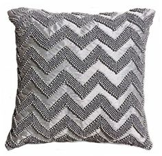 Tahari Chevron Beaded Decorative Toss Pillow Cover Bugle Beads Accent Throw Pillow Cushion Cover 11 by 11-inch Zig Zag Grey Silver Gray Tahari Home http://www.amazon.com/dp/B010BJHG42/ref=cm_sw_r_pi_dp_JHOJvb1ZVCZZV