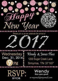 #HappyNewYear - New Year Digital Invitation Glitter Pink Bling by #M2MPartyDesigns