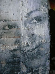 self portrait on wood and emulsion
