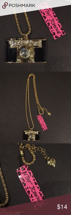New Betsey Johnson Camera Necklace New with tags. Camera Betsey Johnson Rhinestone necklace. Betsey Johnson Jewelry Necklaces