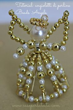 DIY sweet angel ornaments made with safety pins and beads.  So pretty and easy!  Tutorial by Caseperlatesta.