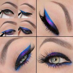 Electric Blue & Purple Eyeliner Tutorial - Nadyana Magazine