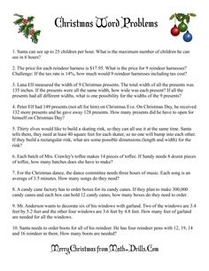 Christmas Math Worksheet -- Word Problems -- Need to pass on to Mary for the older kids Basic Algebra Worksheets, Math Division Worksheets, Free Printable Math Worksheets, Multiplication Worksheets, Number Worksheets, Printables, Math Story Problems, Word Problems, Christmas Math Worksheets