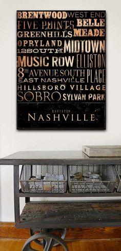 Nashville Neighborhoods Typography handmade by geministudio