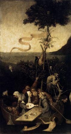 Hieronymus, Bosch, The Ship of Fools, 1490-1500, Oil on wood, 58 x 33 cm, Musée du Louvre, Paris, France.