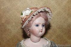 French Fashion Doll Bonnet ~ Antique Straw ~ Artist Made - Zofia Rose's Emporium #dollshopsunited