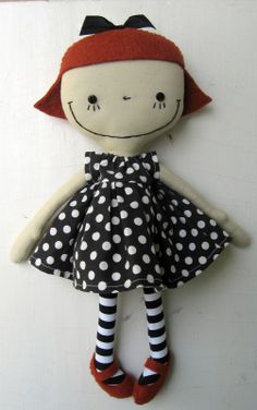 """.such a happy smile....i love this doll! her polka-dot dress and striped """"stockings"""" are a perfect match for her cuteness!..."""