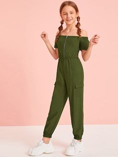 Girls Off Shoulder Zip Front Flap Pocket Side Jumpsuit - Cute Outfits Cute Comfy Outfits, Cute Girl Outfits, Kids Outfits Girls, Cute Outfits For Kids, Stylish Outfits, Summer Dresses For Girls, Cute Clothes For Kids, Kid Outfits, Teenage Girl Outfits