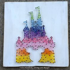 rainbow castle string art inspired by disney and mickey mouse custom wall decor is part of String art - Rainbow Castle String Art Inspired by Disney and Mickey Mouse Custom Wall Decor Strongart Inspiration Disney String Art, Nail String Art, String Crafts, Fun Crafts, Arts And Crafts, Disney Diy, Disney Crafts, String Art Templates, String Art Patterns
