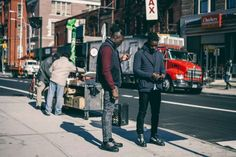 http://chicerman.com  billy-george:  The lads from streetetiquette@street on the streets of NYC.  Source: hypebeast  #streetstyleformen