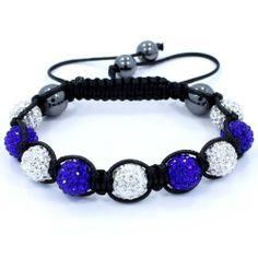 "Electric Blue & White Swarovski Crystal & Hematite Beads Adjustable From 6.5""-11""shamballa Style Bracelet Pro Jewelry. $19.99. Material: Swarovski Crystal stone, clay, hematite & waxed cord. 2pcs of 10mm hematite beads and 2pcs of 8mm hematite beads. 4pcs of 10mm electric blue crystal stone beads. 5pcs of 10mm clear crystal stone beads. Size : Adjustable from 6.5""-11"""