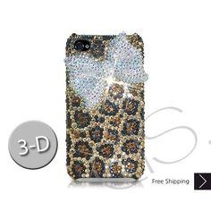 White Ribbon 3D Bling Swarovski Crystal iPhone 5 Case - Leopardo