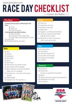 Basic Triathlon Racing Checklist. Hope this helps!