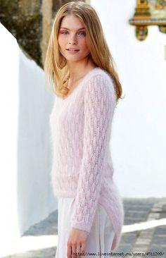 Ажурный пуловер из мохера спицами: Дневник группы «ВЯЖЕМ ПО ОПИСАНИЮ»: Группы - женская социальная сеть myJulia.ru