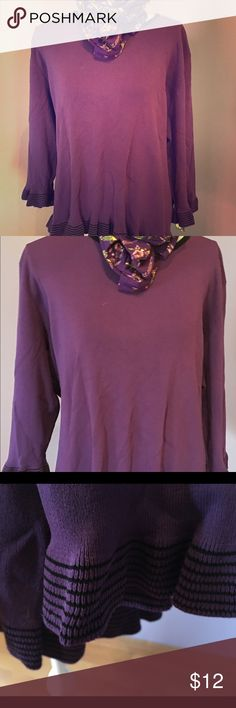 Purple top plus size 3x Purple long sleeve, with charming striped/ ribboning effect on cuffs & hem. Material: 65 % rayon, 35 % nylon  Brand: Notations Notations Woman Tops Tunics
