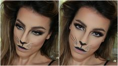 Cat makeup tutorial-She does a GREAT job showing how to countour and the eyebrows are awesome. Lame whiskers