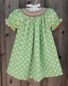 Green Geometric Print Smocked Dress from Smocked Auctions