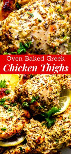 OVEN BAKED GREEK CHICKEN THIGHS Oven Baked Greek Chicken Thighs Recipe is a super fast and easy weeknight dinner idea. A quick and flavorful marinade with Greek yogurt, lemon, garlic and spices helps make this chicken super tender and full of flavor! Greek Chicken Thigh Recipe, Chicken Thigh Fillet Recipes, Baked Greek Chicken, Marinated Chicken Thighs, Greek Yogurt Chicken, Greek Chicken Recipes, Greek Yogurt Recipes, Easy Chicken Dinner Recipes, Greek Chicken Marinades