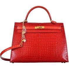 Pre-owned HERMES KELLY BAG 35cm BRAISE GERANIUM POROSUS W GOLD... (344.545 BRL) ❤ liked on Polyvore featuring bags, handbags, handbags and purses, hermes kelly bags, top handle bags, red crocodile handbag, crocodile handbag, crocodile purse, horse handbags and miniature purse