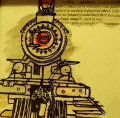 small art. multimedia drawings train watercolour sharpie  www.facebook.com/andersblink