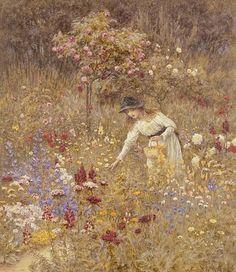 "windypoplarsroom:    H. Allingham  ""Gathering flowers"""