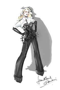 "Madonna - MDNA Tour Costumes - Sketches (3) A Jean Paul Gaultier look for Madonna's ""Vogue"" number"