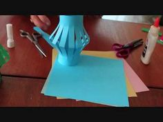 """Easy Peasy Japanese Lantern. We're making these as we learn about Japan for """"J"""" week at our stay-at-home school. Link is to a kid-safe you tube video."""