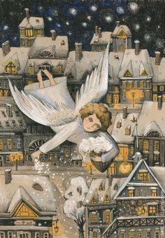 Pinzellades al món: Neva / Nieva / Snowing Art And Illustration, Illustrations And Posters, Christmas Angels, Christmas Art, Adorable Petite Fille, Angel Artwork, Motif Floral, Native Art, Art Images