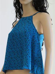 Blue Top Summer top Silk Shirt Boho Top Tank top by silkzdesign