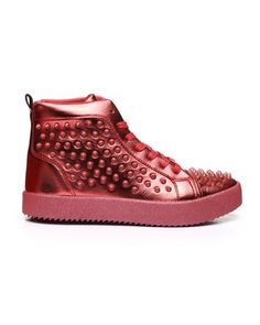 AURELIO GARCIA - Metallic Studded Sneakers Studded Sneakers, High Top Sneakers, Pink Dolphin, Diamond Supply Co, Sweater Boots, Famous Stars, Men's Footwear, Dad Hats, Metallic Leather