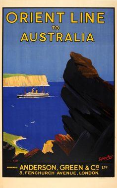 Australia Orient Line, 1930s - original vintage poster by Ellis Silas listed on AntikBar.co.uk