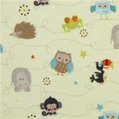 light green Riley Blake animal flannel fabric owl hedgehog