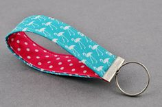 Designer Fabric Turquoise and Pink Flamingo Keychain Keyfob on Etsy, $3.43