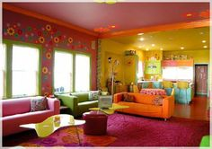 Glamour Beach Living Room In Vibrant Colors at Awesome Colorful Living Room
