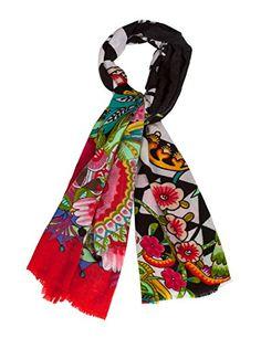 eef3a06096cd2 Desigual Jacky - Foulard - Imprimé - Femme - Vert (Musgo) - Taille unique  (Taille fabricant  Taille unique)  Amazon.fr  Vêtements et accessoires