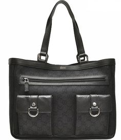 23e1f0bd31c Gucci Lady Buckle Large Black Leather Business Tote Bag