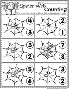 Preschool Halloween Worksheets - Spider Counting Looking for fun Preschool Halloween Activities? This set of fun Hands-on Centers and Printables are the perfect addition to your Preschool Halloween Theme. Maths Halloween, Halloween Theme Preschool, Halloween Worksheets, Halloween School Treats, Fall Preschool, Theme Halloween, Preschool Curriculum, Preschool Lessons, Preschool Worksheets