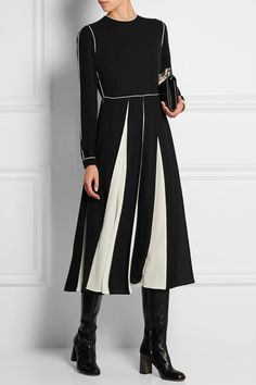 Black and white silk-georgette Concealed hook and zip fastening at back 100% silk Dry clean  VALENTINO Pleated silk-georgette midi dress