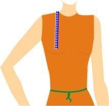 ALTURA DO BUSTO - Meça no encontro do ombro com o pescoço até a ponta do mamilo.