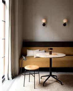 Dining Sofa, Dining Table, Table Lamp, Round Table Top, Upholstery, Furniture, Home Decor, Menu, Cafe Idea