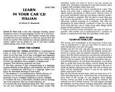 Learn in your car - CD Italian - learn italian a (1) (pdf)- http://www.scribd.com/doc/48399835/learn-italian-a-1