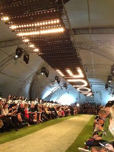Inside the Topshop show space at London Fashion Week. Light design. Awesome idea