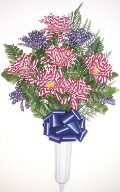 Stars and Stripes Patriotic Memorial Vase - 26 Inch