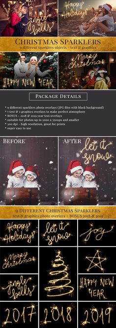 Christmas Sparklers photo overlays. Made by Brown Leopard. Great for Holiday season, super easy to use. Just for $10.