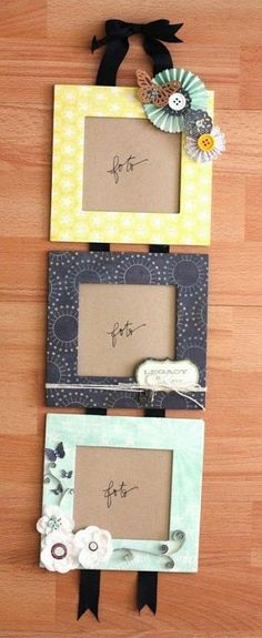 Photo frames made of cardboard boxes. This is an inexpensive way of creating photo frames and you can choose the borders by using your own scrapbook paper! by mtellibus Latest Photo Frames, Marco Diy, Cadre Photo Diy, Picture Frame Crafts, Paper Picture Frames, Photo Frames Diy, Photo Frame Ideas, Paper Photo Frame Diy, Decorate Picture Frames